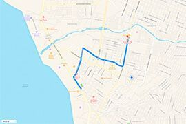 Route and Driving Directions to Hospital CMQ Premiere in Puerto Vallarta from Plaza Genovesa and Plaza Las Glorias