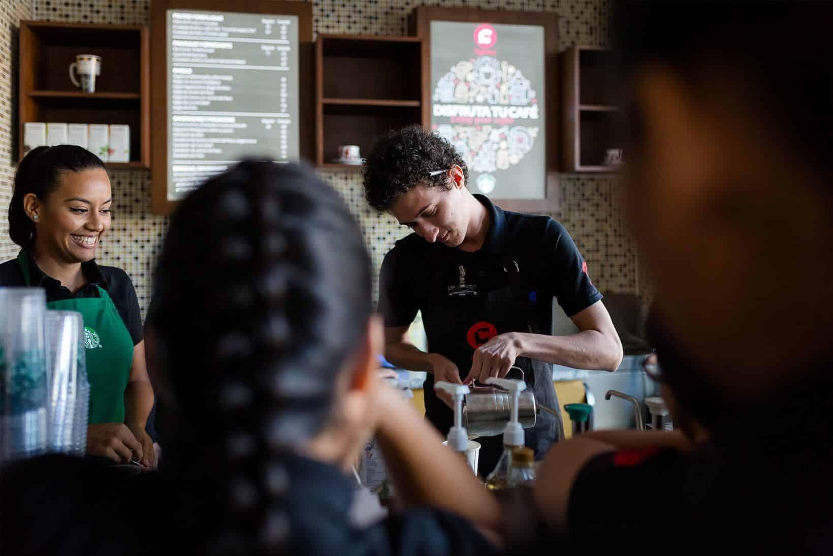 Diana Ramírez training our team of baristas at CMQ Riviera Nayarit Cafeteria in Hospital CMQ Riviera Nayarit